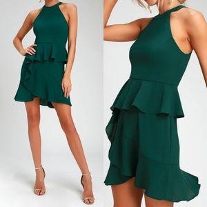 En Créme Forest Green Ruffled Mini Dress